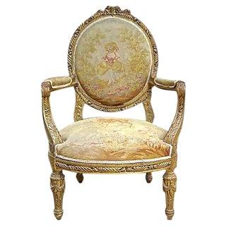 Antique Charles X Aubusson Fauteuil