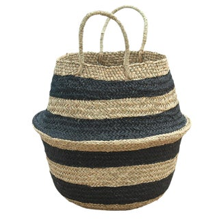 "Brunna ""Stripes Tribes"" Black Beach Seagrass Basket"