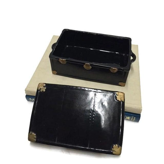 Vintage 1970s Black Ceramic Trunk Display Box - Image 4 of 7