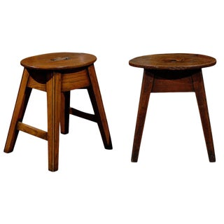 Two Oval Top Stools