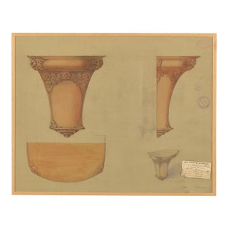 An original perspective drawing executed for a class at the Musee des Arts Decoratifs in Paris, France dated 1911.