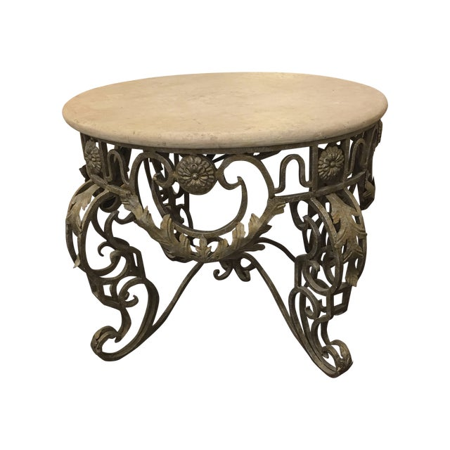Travertine Top & Gilded Cast Metal Foyer Table - Image 1 of 8