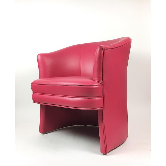 Pair of Vintage Pink Leather Club Chairs - Image 3 of 11