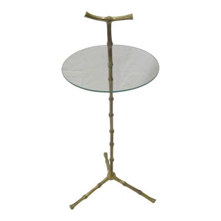 Maison Bagues Glass and Brass Cocktail Table, France, circa 1950s