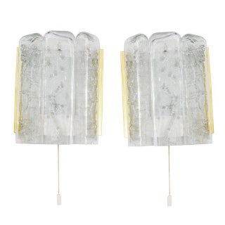 Glass & Polished Brass Sconces - A Pair