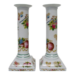 Porcelain Column Candlesticks - A Pair