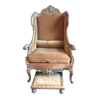 Louis XV Style Marquise Chair & Footstool - A Pair