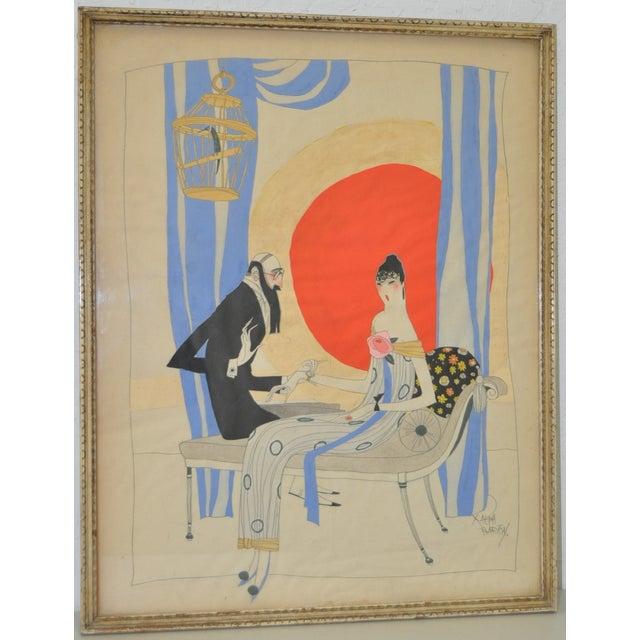 Ralph Barton (1891–1931) Art Deco Painting 1920's - Image 2 of 8