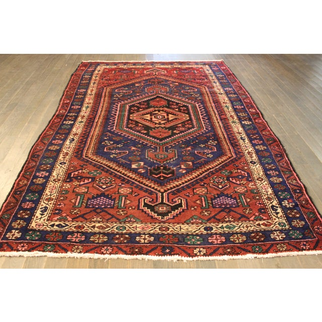 """Vintage Red & Blue Persian Rug - 4'11"""" x 7'10"""" - Image 2 of 4"""