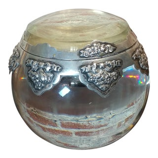 19th century Beautiful Inkwell - Crystal Sphere with Silver overlay