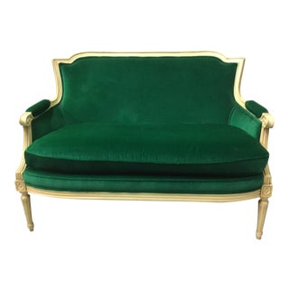 Grand Rapids Louis XVI Style Settee in Green Velvet