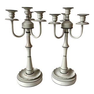 Tole Hollywood Regency Candle Sticks - A Pair