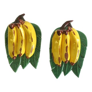 Vintage Banana Pottery Wall Pockets - A Pair