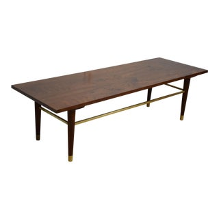 Vintage Walnut & Brass Coffee Table