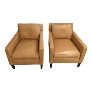 Vintage Crate & Barrel Camel Leather Modern Club Chairs - a Pair