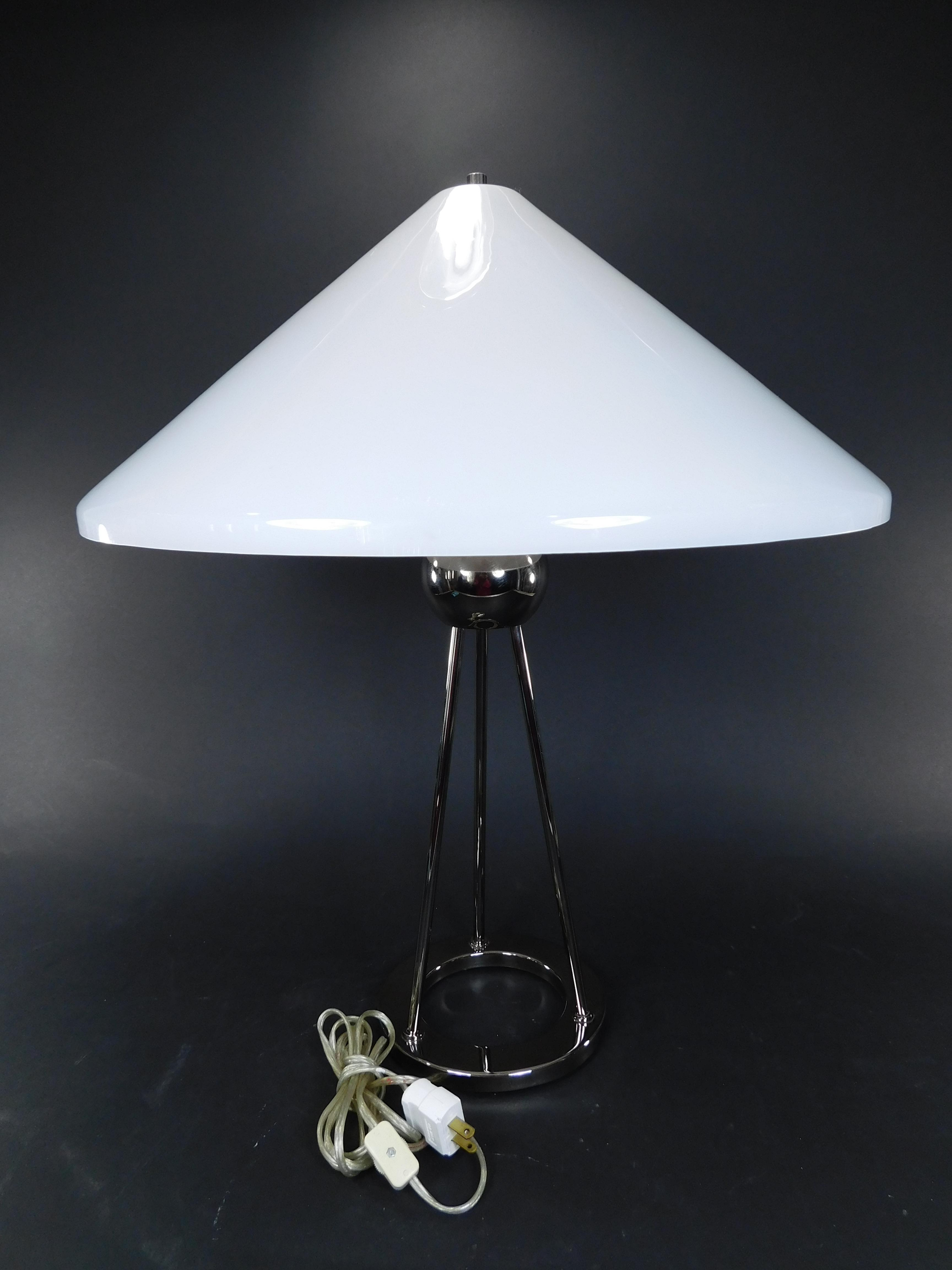 walter von nessen chrome tripod table lamp image 4 of 11