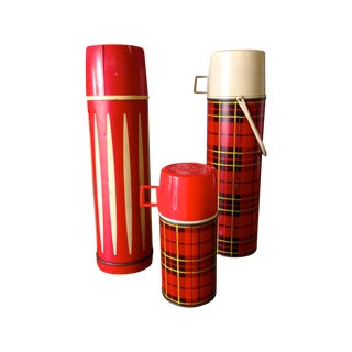 Vintage Red Thermos - Set of 3