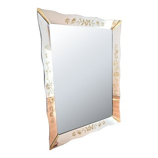 Art Nouveau Style Bevelled and Etched Mirror