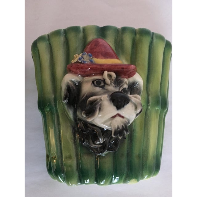 Image of Italian Terrier Dog & Bamboo Wall Pockets - A Pair