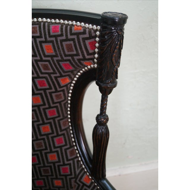 Carved Fire Side Barrel Back Wing Chairs - Pair - Image 5 of 10