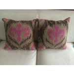 Image of Pink & Brown Aztec Pillows - A Pair