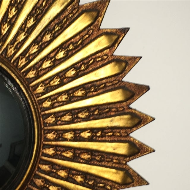 Mid Century Modern Argentinian Gilded Wood Starburst Convex Wall Mirror - Image 3 of 7