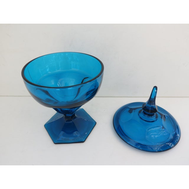 Mid-Century Peacock Blue Candy Jar - Image 3 of 5