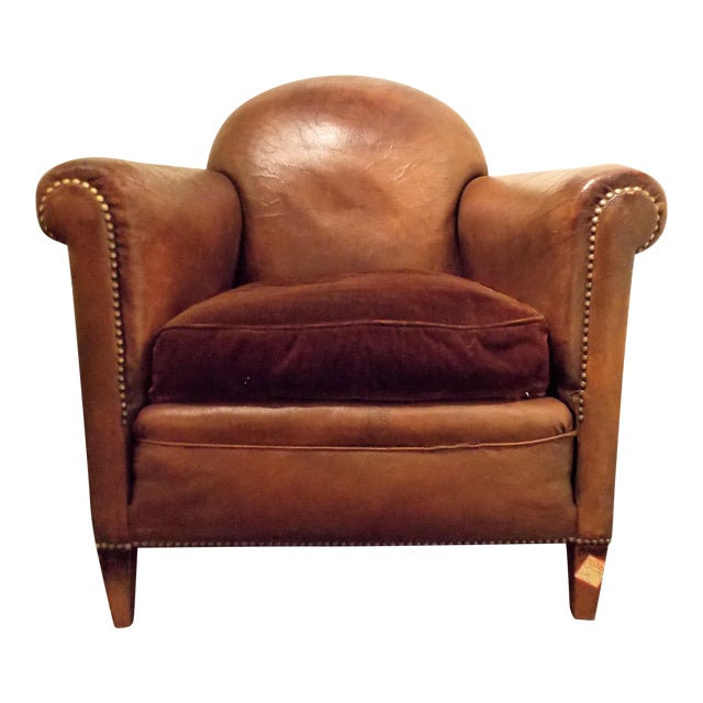 French Vintage Leather Club Chair - Image 1 of 7
