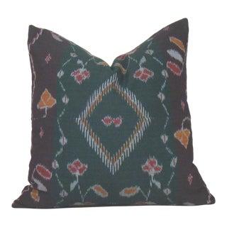 Indonesian Floral Ikat Sarong Pillow Cover
