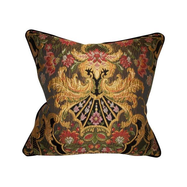 Image of Aubusson Chenille Tapestry Lampas Accent Pillow