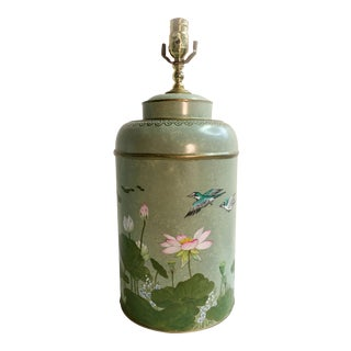 English Style Tole Tea Caddy With Lotus Landscape