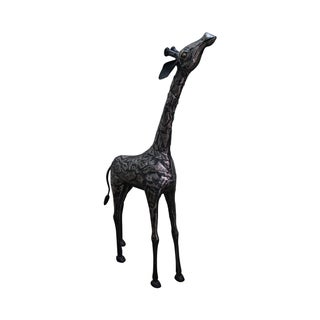 Steel Patchwork Standing Giraffe Statue Sculpture