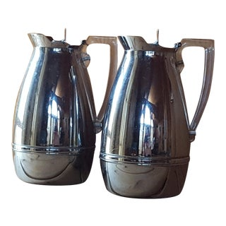 Vintage Chrome Thermos Coffee Pitchers - A Pair