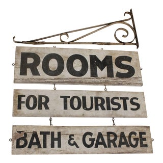 Vintage Double-Sided Rooms for Tourists Sign