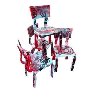 Graffiti Painted Children's Thonet Chairs - Set of 4