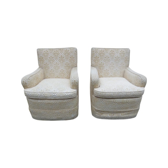 Vintage Cream Club Chairs - A Pair - Image 1 of 9