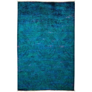 "Vibrance, Hand Knotted Blue Wool Area Rug - 4' 1"" X 6' 4"""