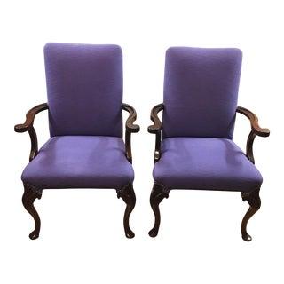 Queen Anne Style Arm Chairs - A Pair