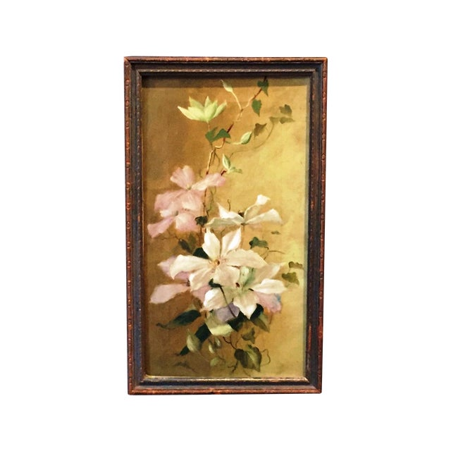 Victorian Painting of Clematis - Image 1 of 3
