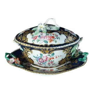First Period Worcester Porcelain Mazarine Blue-Ground Botanical Sauce Tureen