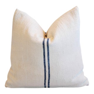 Blue Striped European Homespun Textile Down and Feather Pillow