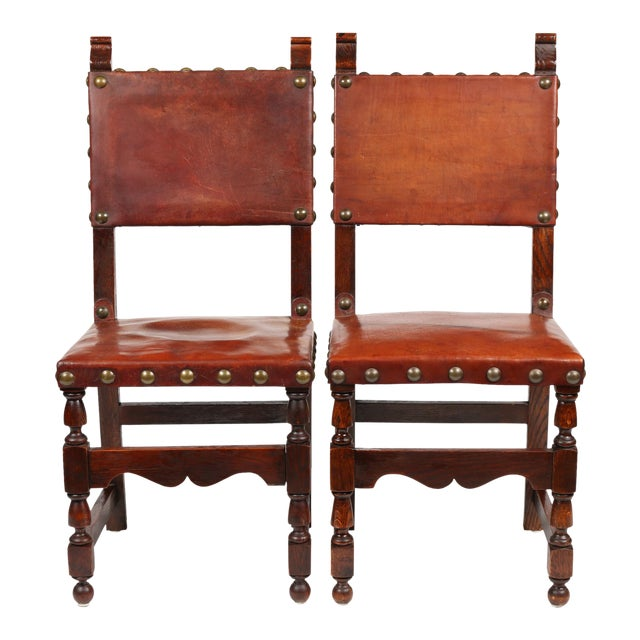 C.1900 Antique Spanish Chairs - A Pair - Image 1 of 9 - C.1900 Antique Spanish Chairs - A Pair Chairish