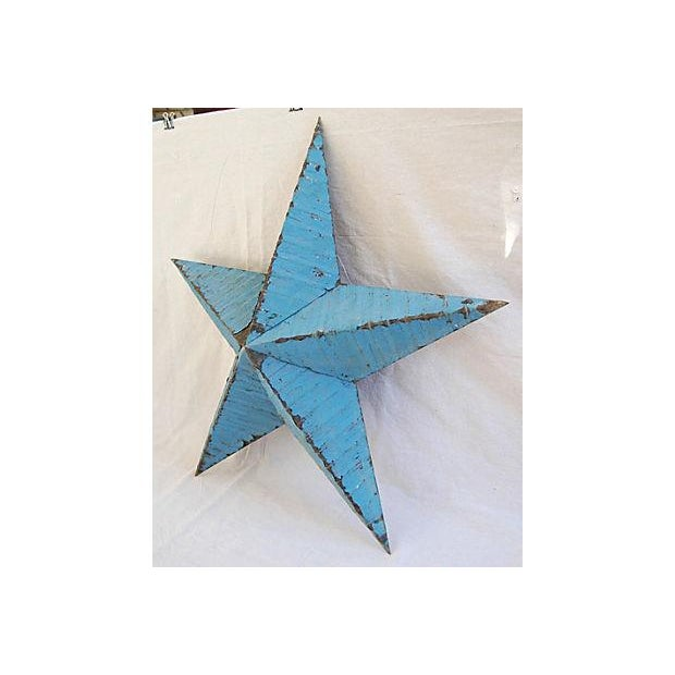 Large Reclaimed Barn Metal Blue Star - Image 3 of 6