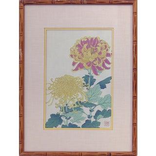 Vintage Chrysanthemums Wood-Block Print