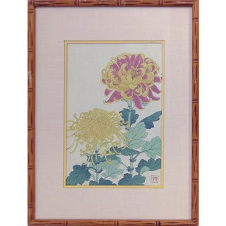 Vintage Chrysanthemums Wood-Block Print