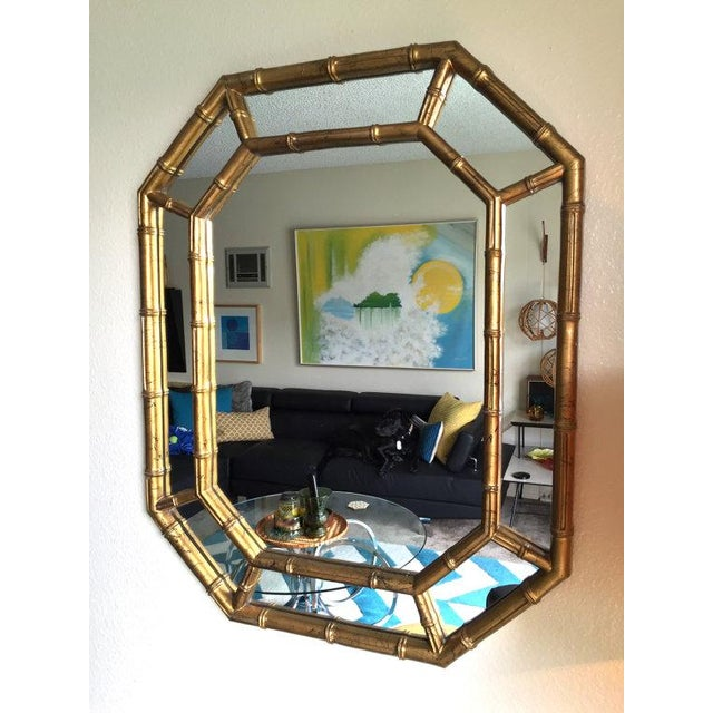 Hollywood Regency Bamboo Mirror in Gold & Ink - Image 5 of 5