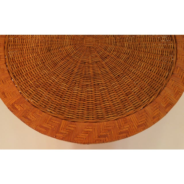 1970s French Woven Reed Rattan Coffee Table - Image 8 of 9