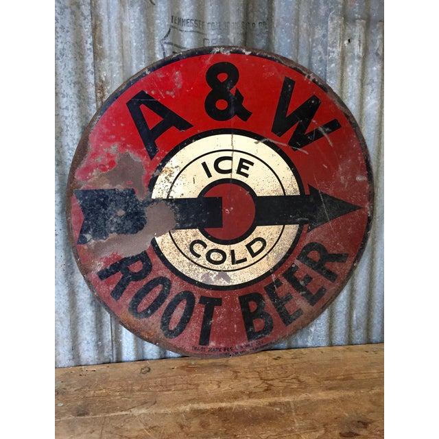 Vintage 1950s A&W Rootbeer Metal Sign - Image 2 of 5