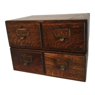 Pair of Antique Oak File Drawers