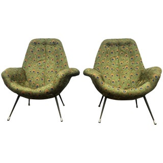 Mid-Century Italian Green Lounge Chairs - A Pair